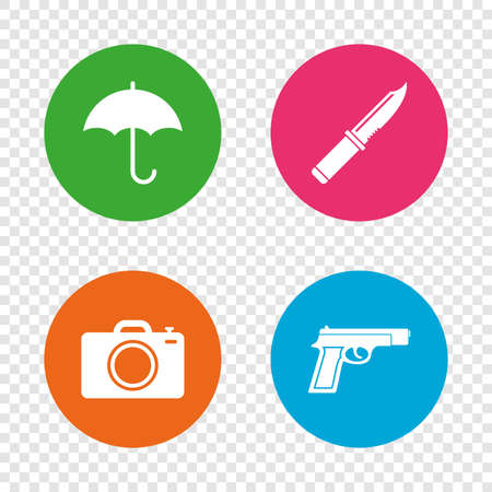 Gun weapon icon.Knife, umbrella and photo camera signs. Edged hunting equipment. Prohibition objects. Round buttons on transparent background. Vector Illustration