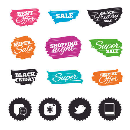 Ink brush sale banners and stripes. Social media icons. Chat speech bubble symbol. Hipster photo camera sign. Empty photo frames. Special offer. Ink stroke. Vector