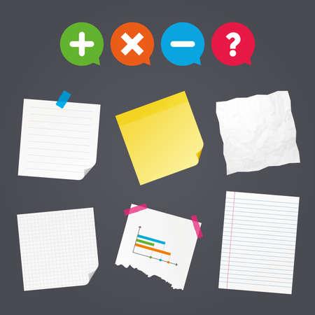 Zakelijke papieren banners met notities. Plus- en minuspictogrammen. Verwijder en ondervraag FAQ-borden. Zoom symbool vergroten. Kleverige kleurrijke tape. Tekstballonnen met pictogrammen. Vector