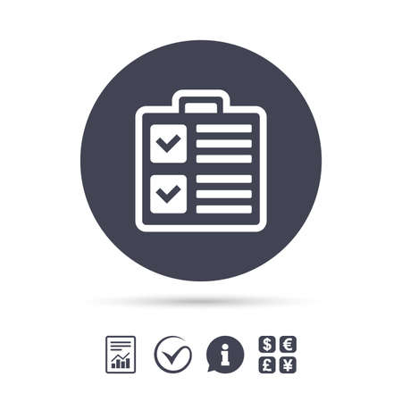 Checklist sign icon. Control list symbol. Survey poll or questionnaire form. Report document, information and check tick icons. Currency exchange. Vector Çizim