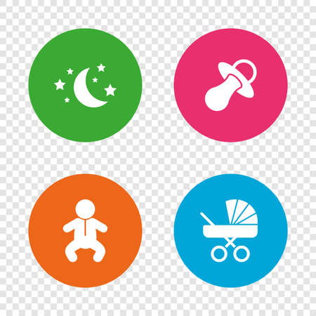 Moon and stars symbol. Baby infants icon. Buggy and dummy signs. Child pacifier and pram stroller. Round buttons on transparent background. Vector Illustration