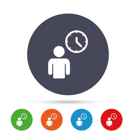 Person waiting sign icon. Time symbol. Queue. Round colourful buttons with flat icons. Vector Çizim