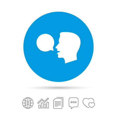 Talk or speak icon. Speech bubble symbol. Human talking sign. Copy files, chat speech bubble and chart web icons. Vector Illustration