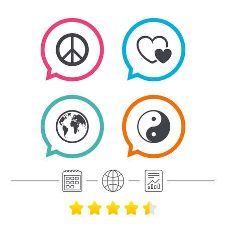 World globe icon. Ying yang sign. Hearts love sign. Peace hope. Harmony and balance symbol. Calendar, internet globe and report linear icons. Star vote ranking. Vector