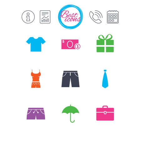 Information, report and calendar signs. Clothing, accessories icons. T-shirt, business case signs. Umbrella and gift box symbols. Classic simple flat web icons. Vector