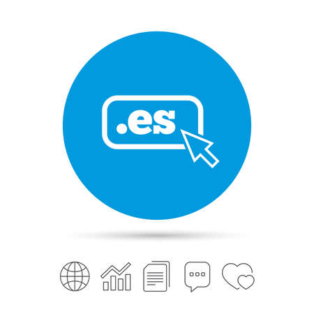 Domain ES sign icon. Top-level internet domain symbol with cursor pointer. Copy files, chat speech bubble and chart web icons. Vector Illustration