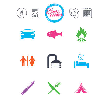 Information, report and calendar signs. Hiking travel icons. Camping, shower and wc toilet signs. Tourist tent, fork and knife symbols. Classic simple flat web icons. Vector