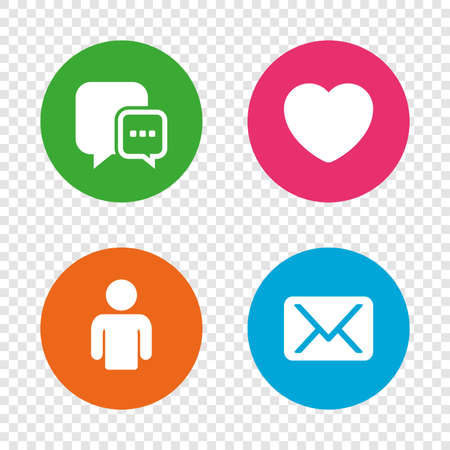 Social media icons. Chat speech bubble and Mail messages symbols. Love heart sign. Human person profile. Round buttons on transparent background. Vector