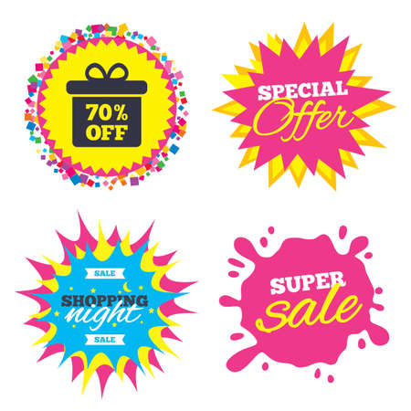 Sale splash banner, special offer star. 70% sale gift box tag sign icon. Discount symbol. Special offer label. Shopping night star label. Vector