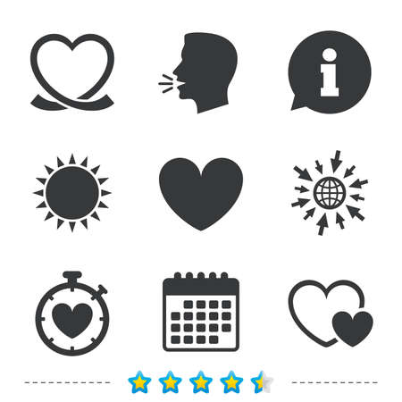 Heart ribbon icon. Timer stopwatch symbol. Love and Heartbeat palpitation signs. Information, go to web and calendar icons. Sun and loud speak symbol. Vector Çizim