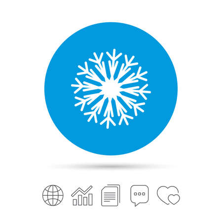 Snowflake artistic sign icon. Christmas and New year winter symbol. Air conditioning symbol. Copy files, chat speech bubble and chart web icons. Vector