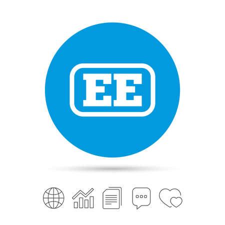 Estse taal teken pictogram. EE-vertaalsymbool met frame. Kopieer bestanden, praat tekstballonnen en grafiek web iconen. Vector