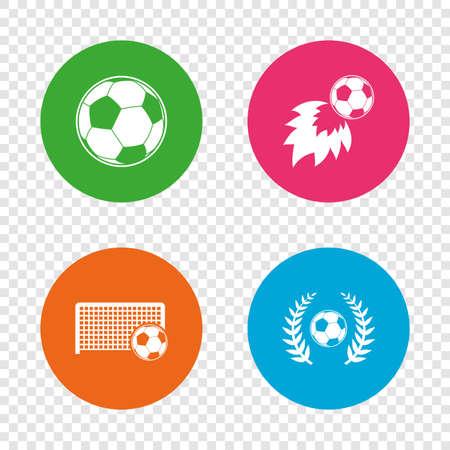 Voetbal pictogrammen. Voetbal sport teken. Keeper poort symbool. Winnaar award lauwerkrans. Doelpuntenmaker vuurbal. Ronde knoppen op transparante achtergrond. Vector Stock Illustratie