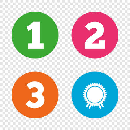 First, second and third place icons. Award medal sign symbol. Round buttons on transparent background. Vector Stock Vector - 79233750