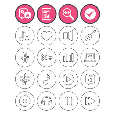 Question and answer, check tick and report signs. Music icons. Musical note, acoustic guitar and microphone. Notebook, dynamic and headphones symbols. Q&A and investigate symbol. Flat buttons. Vector