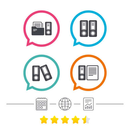 Accounting icons. Document storage in folders sign symbols. Calendar, internet globe and report linear icons. Star vote ranking. Vector