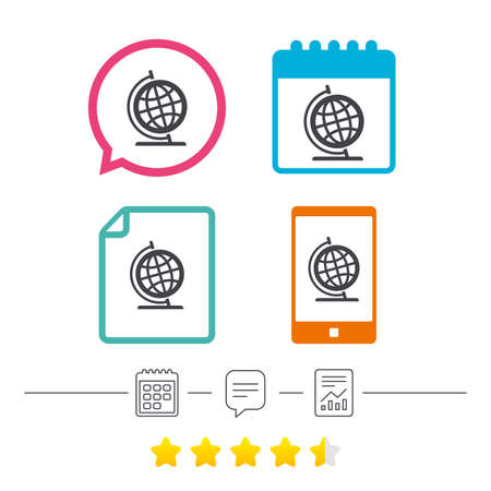 Globe sign icon. Geography symbol. Globe on stand for studying. Calendar, chat speech bubble and report linear icons. Star vote ranking. Vector Illustration