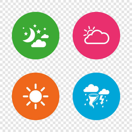 Weather icons. Moon and stars night. Cloud and sun signs. Storm or thunderstorm with lightning symbol. Round buttons on transparent background. Vector