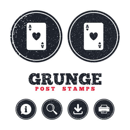 Grunge post stamps. Casino sign icon. Playing card symbol. Ace of hearts. Information, download and printer signs. Aged texture web buttons. Vector