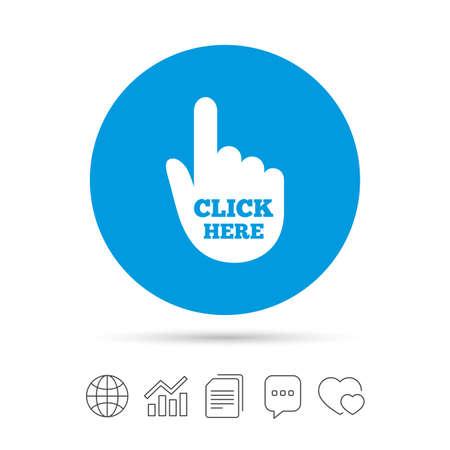 여기를 클릭하십시오. 손 기호 아이콘. 버튼을 누르시오. 파일 복사, 연설 거품 채팅 및 차트 웹 아이콘. 벡터