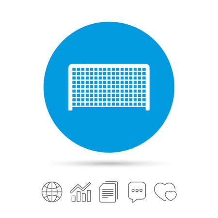 Voetbal poort teken pictogram. Soccer Sport keepersymbool. Kopieer bestanden, praat tekstballonnen en grafiek web iconen. Vector