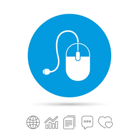 Computer mouse sign icon. Optical with wheel symbol. Copy files, chat speech bubble and chart web icons. Vector Illustration