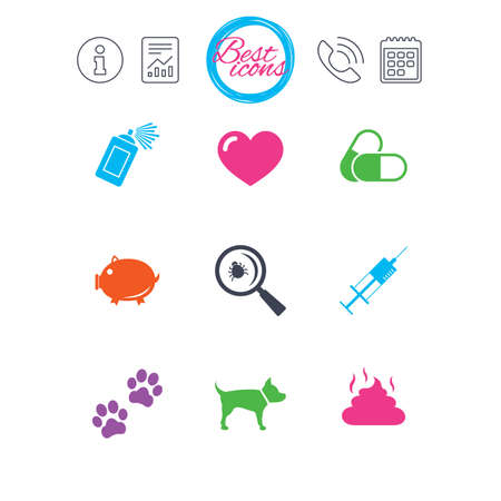 Information, report and calendar signs. Veterinary, pets icons. Dog paws, syringe and magnifier signs. Pills, heart and feces symbols. Classic simple flat web icons. Vector Illustration