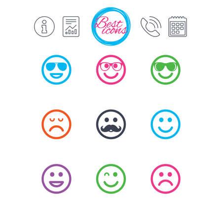 情報、報告書、カレンダーのサイン。笑顔のアイコン。幸せ、悲しい、ウインク印に直面しています。サングラス、口ひげ、笑絵文字シンボルを笑