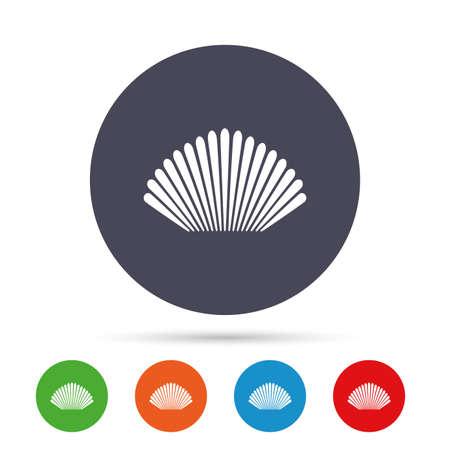 海のシェルの記号のアイコン。コンシュのシンボル。旅行アイコン。フラット アイコンと丸いカラフルなボタン。ベクトル  イラスト・ベクター素材