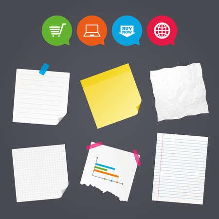 ビジネス ノートと紙バナー。オンライン ショッピングのアイコン。ノート pc、ショッピングカート、今矢印とインターネットの兆候を購入します。