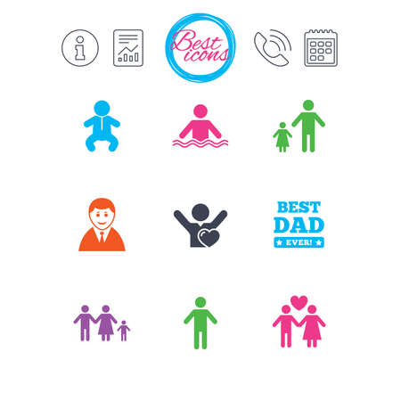 Information, report and calendar signs. People, family icons. Swimming pool, love and children signs. Best dad, father and mother symbols. Classic simple flat web icons. Vector Illustration