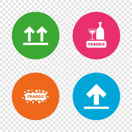 Fragile icons. Delicate package delivery signs. This side up arrows symbol. Round buttons on transparent background. Vector