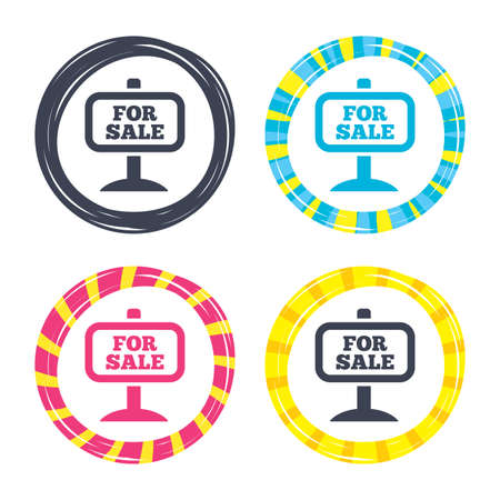 For sale sign icon. Real estate selling. Colored buttons with icons. Poker chip concept. Vector
