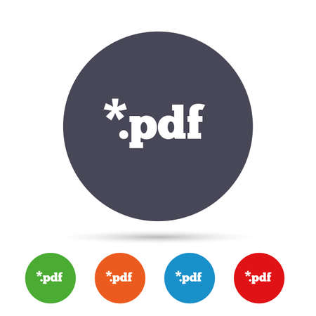 PDF file document icon. Download pdf button. PDF file extension symbol. Round colourful buttons with flat icons. Vector