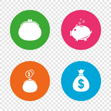 Wallet with cash coin and piggy bank moneybox symbols. Dollar USD currency sign. Round buttons on transparent background. Vector