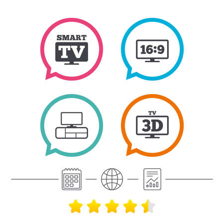 Smart TV mode icon. Aspect ratio 16:9 widescreen symbol. 3D Television and TV table signs. Calendar, internet globe and report linear icons. Star vote ranking. Vector