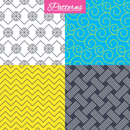 Braid weave, floral ornate and vintage ornament seamless textures. Linear geometric patterns. Modern textures. Abstract patterns with colored background. Vector Çizim