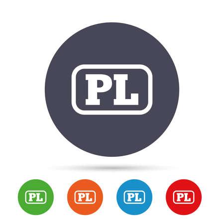 Poolse taal teken pictogram. PL-vertaalsymbool met frame. Ronde kleurrijke knoppen met plat pictogrammen. Vector Stock Illustratie