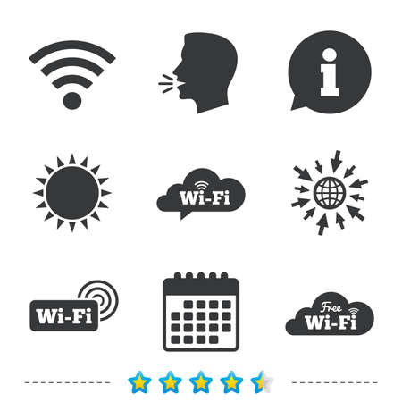 Free Wifi Wireless Network cloud speech bubble icons. Wi-fi zone sign symbols. Information, go to web and calendar icons. Sun and loud speak symbol. Vector Illustration