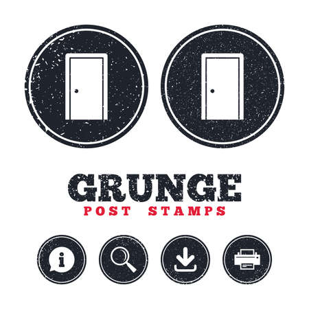 Grunge post stamps. Door sign icon. Enter or exit symbol. Internal door. Information, download and printer signs. Aged texture web buttons. Vector