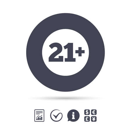 21 plus years old sign. Adults content icon. Report document, information and check tick icons. Currency exchange. Vector