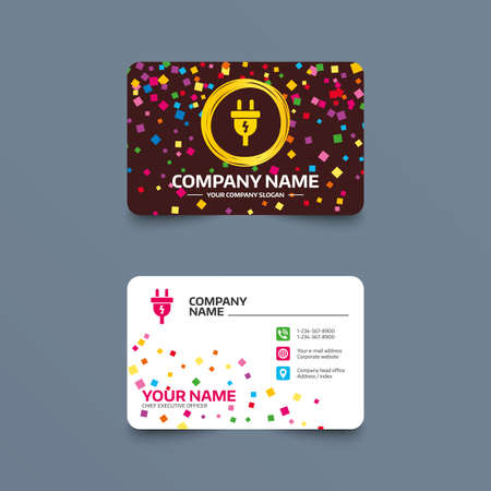 Business card template with confetti pieces. Electric plug sign icon. Power energy symbol. Lightning sign. Phone, web and location icons. Visiting card  Vector Illustration