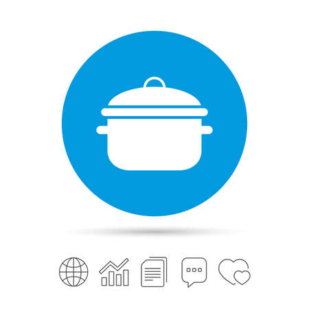 Cooking pan sign icon. Boil or stew food symbol. Copy files, chat speech bubble and chart web icons. Vector Illustration