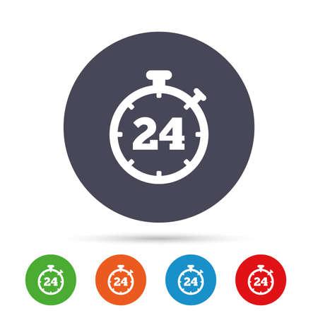 24 uur timer teken pictogram. Chronometer-symbool. Klantenservice. Ronde kleurrijke knoppen met plat pictogrammen. Vector
