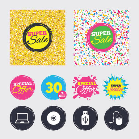 Gold glitter and confetti backgrounds. Covers, posters and flyers design. Notebook pc and Usb flash drive stick icons. Computer mouse and CD or DVD sign symbols. Sale banners. Special offer splash Illustration