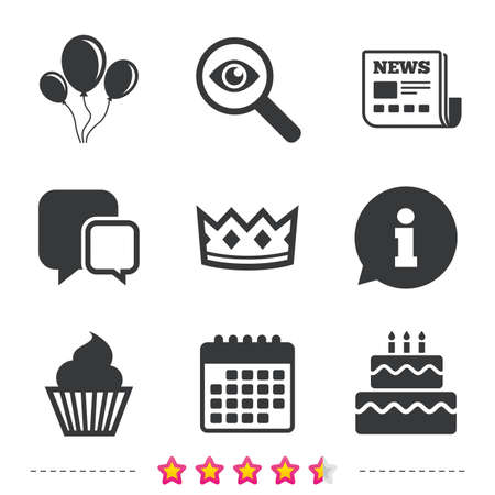 Birthday crown party icons. Cake and cupcake signs. Air balloons with rope symbol. Newspaper, information and calendar icons. Investigate magnifier, chat symbol. Vector