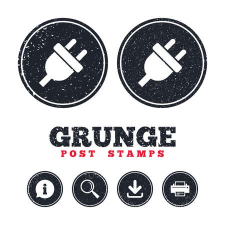 Grunge post stamps. Electric plug sign icon. Power energy symbol. Information, download and printer signs. Aged texture web buttons. Vector