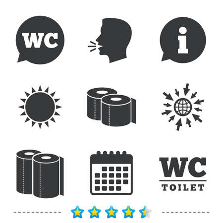 Toilet paper icons. Gents and ladies room signs. Paper towel or kitchen roll. Speech bubble symbol. Information, go to web and calendar icons. Sun and loud speak symbol. Vector
