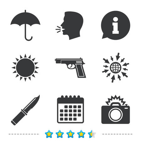 Gun weapon icon.Knife, umbrella and photo camera with flash signs. Edged hunting equipment. Prohibition objects. Information, go to web and calendar icons. Sun and loud speak symbol. Vector Çizim