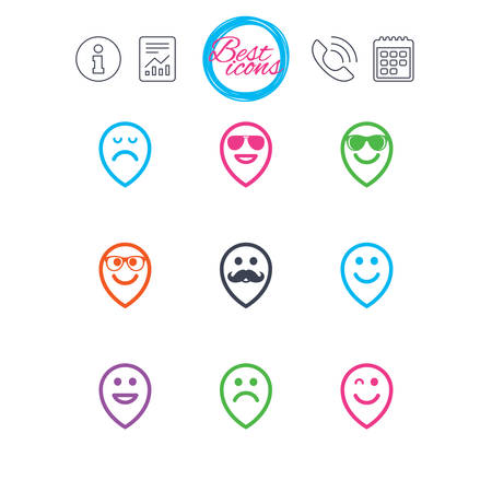 Information, report and calendar signs. Smile pointers icons. Happy, sad and wink faces signs. Sunglasses, mustache and laughing lol smiley symbols. Classic simple flat web icons. Vector 向量圖像